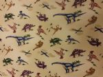 DINOSAURS JURASSIC - PREHISTORIC ANIMALS - Fabric 100% Cotton - Price Per Metre